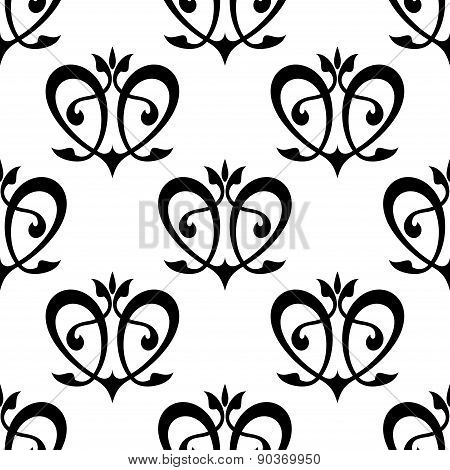 Black floral hearts seamless pattern