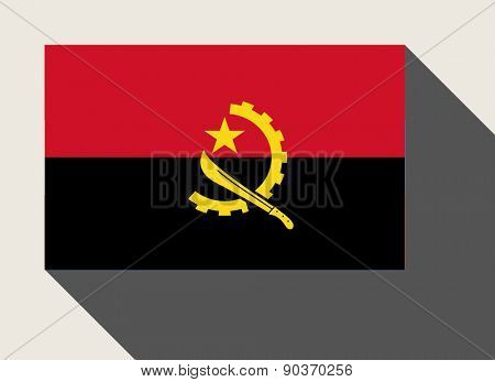 Angola flag in flat web design style.