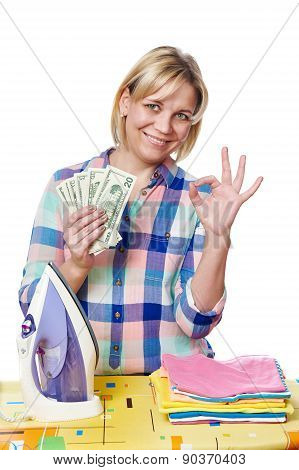 Happy Woman With Dollars And Iron Showing Okey