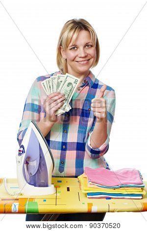 Happy Woman With Dollars And Iron Showing Thumb Up