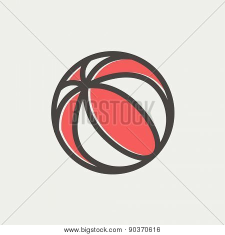 Beach ball icon thin line for web and mobile, modern minimalistic flat design. Vector icon with dark grey outline and offset colour on light grey background.