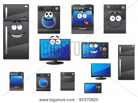 Cartoon household and kitchen appliances