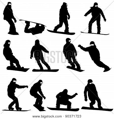 Black Silhouettes Set Snowboarders On White Background. Vector I