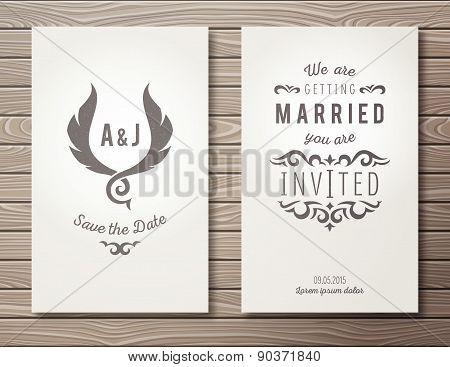 Set of wedding invitations.
