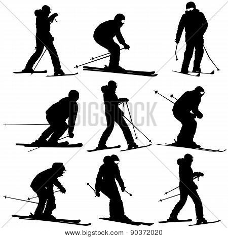 Mountain Skier   Men And Woman Speeding Down Slope. Vector Sport