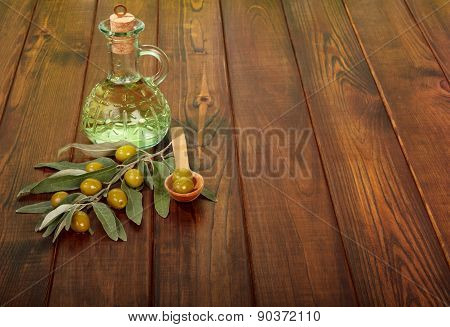 Olives twig and oil