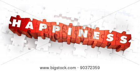Happiness - Text on Red Puzzles.