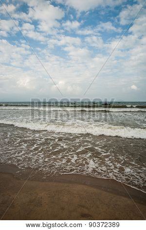 Sea waves near beach in Da Nang city