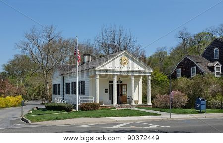 SETAUKET, NY - MAY 4, 2015: US Post Office. Recently restored the building is in the Frank Melville Memorial Park in Setauket, Long Island, New York.