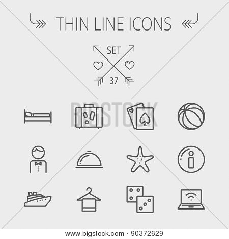 Travel thin line icon set for web and mobile. Set includes- luggage, food cover, towel on a hanger, bed, waiter, beach ball, starfish, cruise ship icons. Modern minimalistic flat design. Vector dark