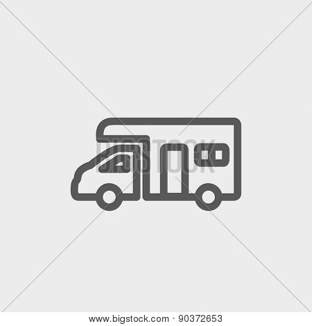 Camper van icon thin line for web and mobile, modern minimalistic flat design. Vector dark grey icon on light grey background.