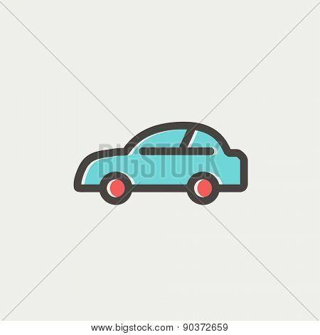 Car icon thin line for web and mobile, modern minimalistic flat design. Vector icon with dark grey outline and offset colour on light grey background.