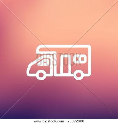 Camper van icon thin line for web and mobile, modern minimalistic flat design. Vector white icon on gradient mesh background.