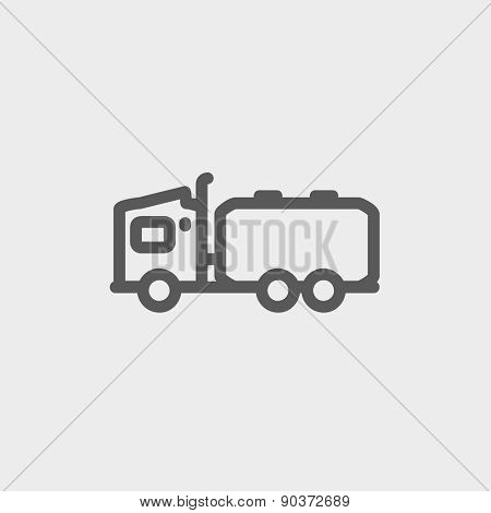 Tanker truck icon thin line for web and mobile, modern minimalistic flat design. Vector dark grey icon on light grey background.