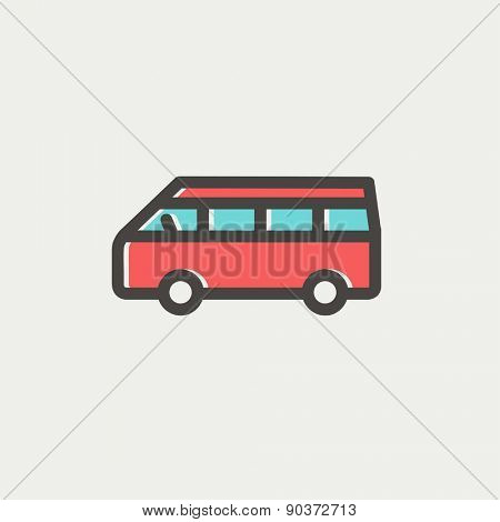 Minibus icon thin line for web and mobile, modern minimalistic flat design. Vector icon with dark grey outline and offset colour on light grey background.