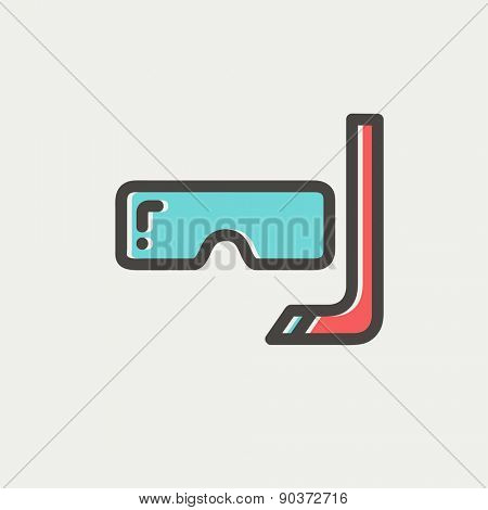 Snorkel and mask for diving icon thin line for web and mobile, modern minimalistic flat design. Vector icon with dark grey outline and offset colour on light grey background.