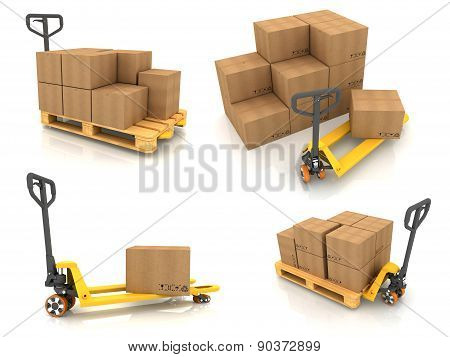Warehouse Concepts - Set of 3D Illustrations.