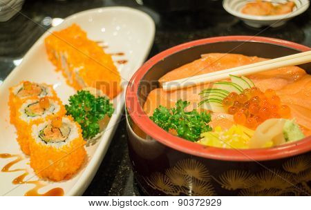 Japanese Salmon Sashimi And Sushi Roll