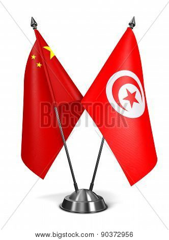 China and Tunisia - Miniature Flags.
