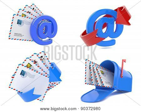 Set of E-mail and Internet Messaging Concept. 3D.