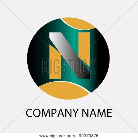 Letter N logo icon design template elements. Vector round sign