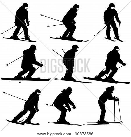 Mountain Skier   Men And Woman Speeding Down Slope. Vector Sport