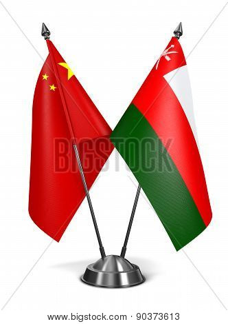 China and Oman - Miniature Flags.