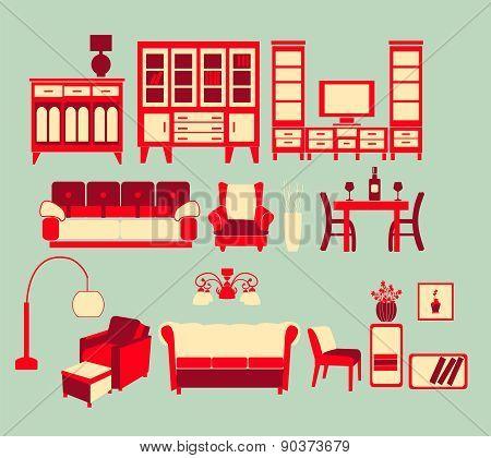 Retro Home Interior Living Furniture Set