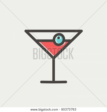 Cocktail drink with cherry icon thin line for web and mobile, modern minimalistic flat design. Vector icon with dark grey outline and offset colour on light grey background.