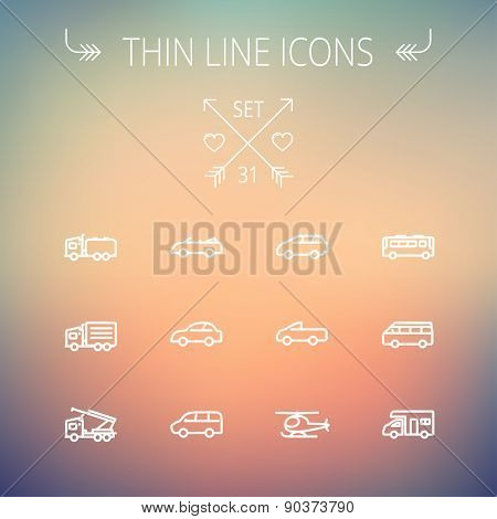 Transportation thin line icon set for web and mobile. Set includes- bus, cars, van, helicopter, camper van icons. Modern minimalistic flat design. Vector white icon on gradient mesh background.