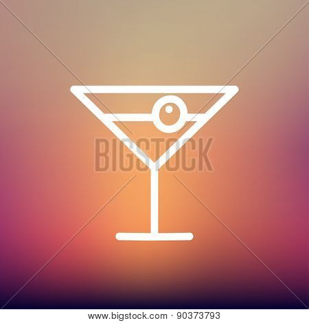 Cocktail drink with cherry icon thin line for web and mobile, modern minimalistic flat design. Vector white icon on gradient mesh background.