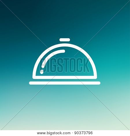 Food cover icon thin line for web and mobile, modern minimalistic flat design. Vector white icon on gradient mesh background.