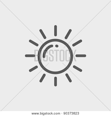 Sun icon thin line for web and mobile, modern minimalistic flat design. Vector dark grey icon on light grey background.