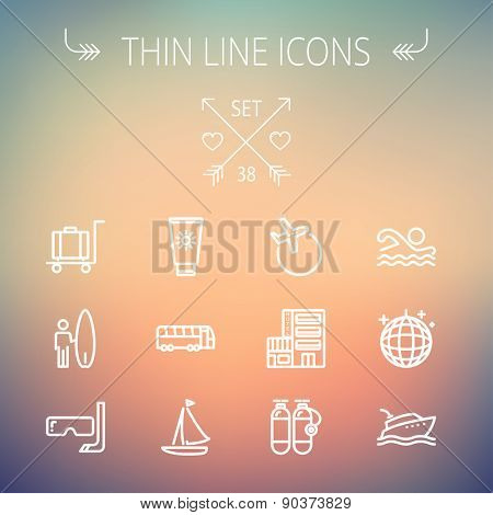 Travel thin line icon set for web and mobile. Set includes-yacht, oxygen tank, snorkel with mask, luggage, hotel, sailboat, plane  icons. Modern minimalistic flat design. Vector white icon on gradient
