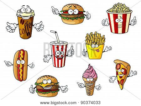 Cartoon fast food and takeaways characters