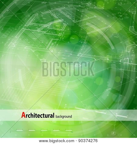 Architecture design: blueprint house plan & blue technology radial background - vector illustration