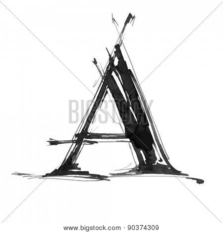 letter A. Alphabet symbol - grunge hand draw paint / vector illustration