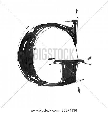 letter G. Alphabet symbol - grunge hand draw paint / vector illustration