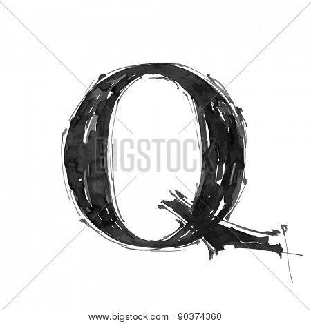 letter Q. Alphabet symbol - grunge hand draw paint / vector illustration