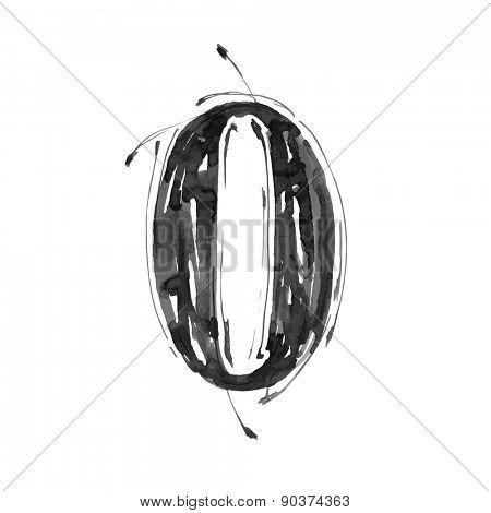 digit 0. Alphabet symbol - grunge hand draw paint / vector illustration