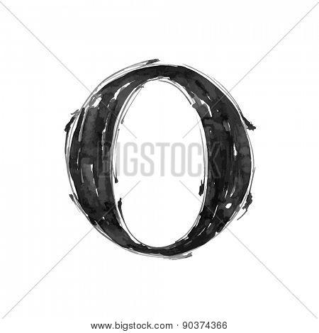 letter O. Alphabet symbol - grunge hand draw paint / vector illustration