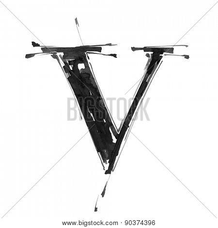 letter V. Alphabet symbol - grunge hand draw paint / vector illustration