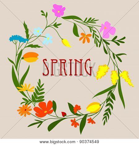 Circular spring floral wreath or frame