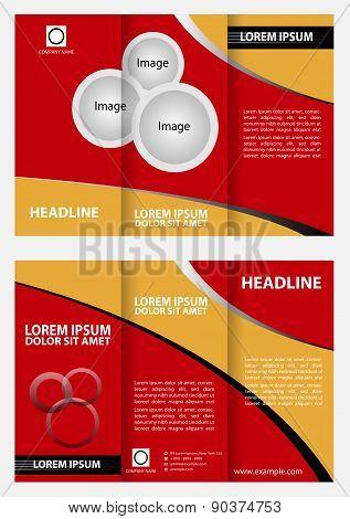 Red brochure tri fold template design