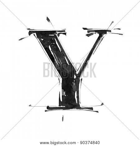 letter Y. Alphabet symbol - grunge hand draw paint / vector illustration