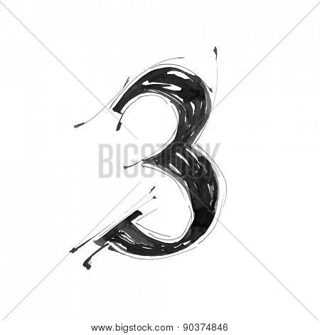 digit 3. Alphabet symbol - grunge hand draw paint / vector illustration