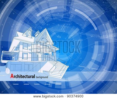Architecture design: blueprint 3d house, plan & blue technology radial background - vector illustration