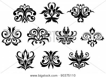 Decorative black gothic flowers set