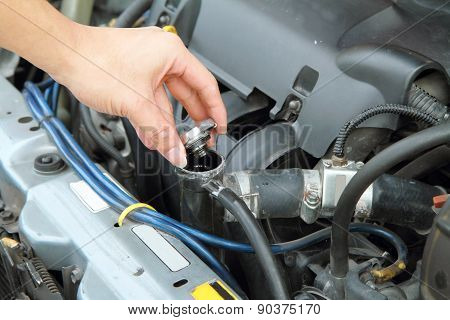 open the car radiator valve