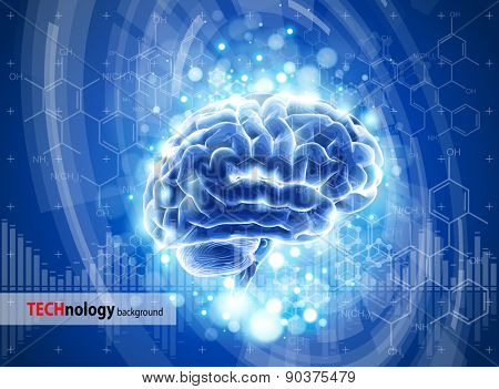 brain - blue technology concept / vector illustration / eps10